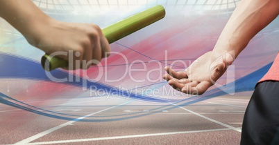 Digitally generated image of hands passing the baton