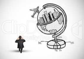 Rear view of businessman standing next to business globe concept