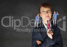 Businesswoman confused between being good or bad conscience