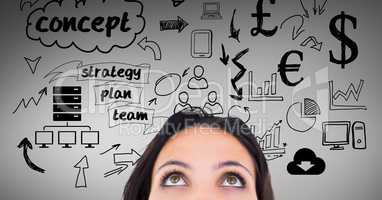 Woman with various business graphics icon over head