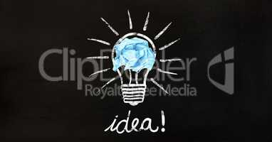 Conceptual image of bulb with crumpled paper and text idea