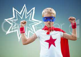 Kid in superhero costume flexing his arms against green background