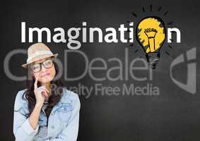 Thoughtful woman with imagination text standing against grey background