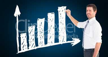 Businessman drawing upward trend graph
