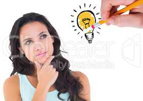 Thoughtful woman looking at drawn innovation bulb against white background