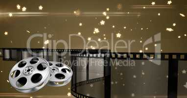 Film reel with stars in background