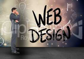 Confused businessman looking at web design icons