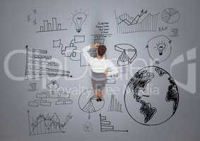 Digital composite image of businesswoman with business plan graphics
