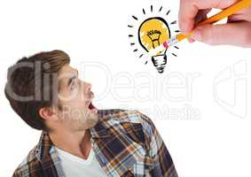 Shocked man looking at innovative bulb drawn on white background