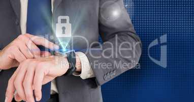 Businessman using smart watch with digital lock interface