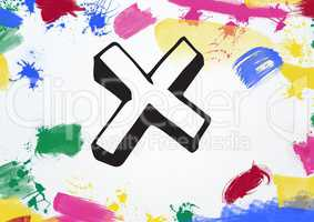 Cross with multi colored paint stroke