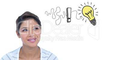 Digital composite image of businesswoman getting and idea