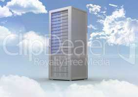 Server tower on cloudy sky background