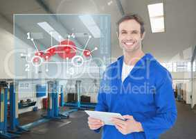 Portrait of happy automobile mechanic holding digital tablet in workshop and mechanic interface