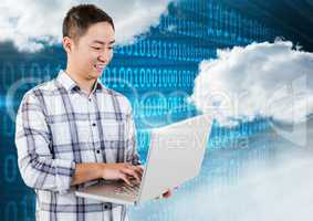 Smiling man using laptop with clouds and binary codes in background