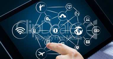 Networking icons on digital tablet