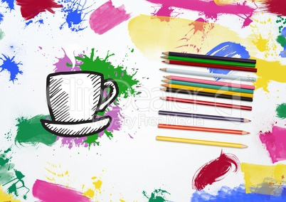 Hand drawn coffee cup and saucer with color pencil and multi colored paint stroke
