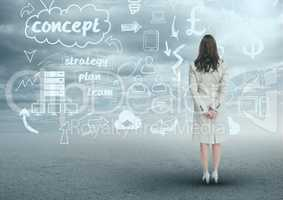 Businesswoman looking at business plan concept background