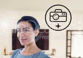 Woman smiling and media application icon