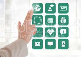 Doctor touching interface screen with medical icons