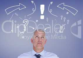 Confused man with exclamation mark, arrow sign and question mark against blue background