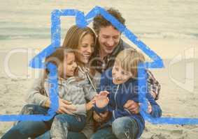 Happy family enjoying on beach above outline house