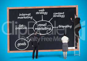 Business professionals writing on blackboard with business plan concept
