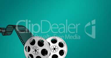 Film reels against green background