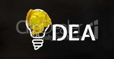 Conceptual image of bulb with crumpled paper and text