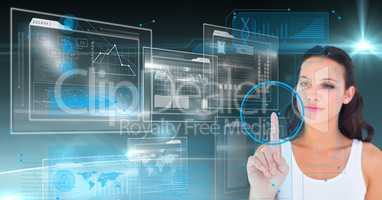 Digital composite image of a woman touching interface design