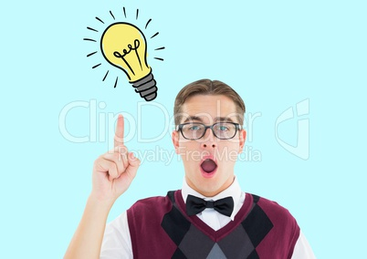 Man pointing innovative bulb against turquoise background