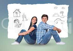 Couple sitting back to back with hand drawn graphics against blue background
