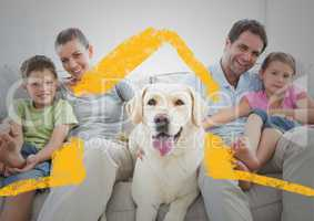 Family and dog sitting on a couch at home against house outline in background