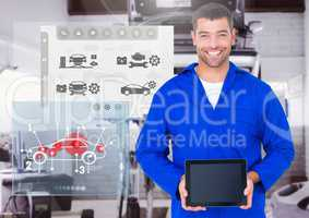 Portrait of a confident automobile mechanic holding digital tablet