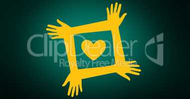 Volunteer hands with yellow heart against green background