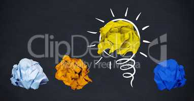 Conceptual image of colorful crumpled paper forming light bulb