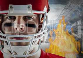 American football player with flames and stadium in background
