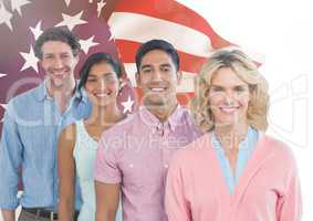 Colleagues standing against american flag in background