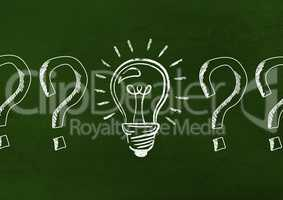 Innovative bulb and questions mark drawn on green background