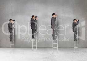 Businessmen standing on ladder looking through binoculars