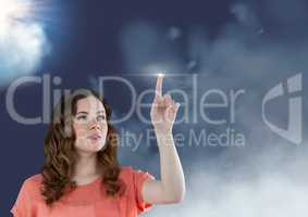 Woman touching a flare against sky in background