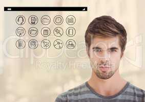 Portrait of handsome man with various icon on background