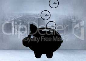 Digitally generated image of piggy bank and clock