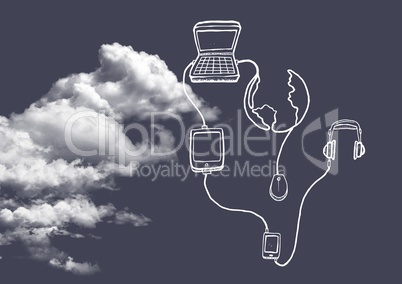 Cloud with connecting icons against grey background