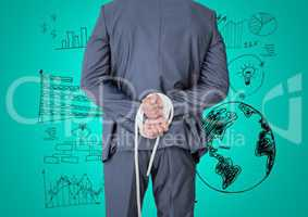 Businessman hands tied up with rope against graphic business concept