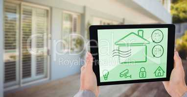 Conceptual image of hand using digital tablet