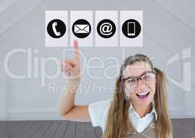 Woman pointing on application icons