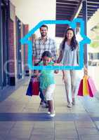 Happy family with shopping bag laid with house shape walking in corridor