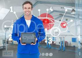 Mechanic holding a digital tablet against digital interface in workshop