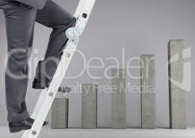 Conceptual image of businessman climbing ladder of success